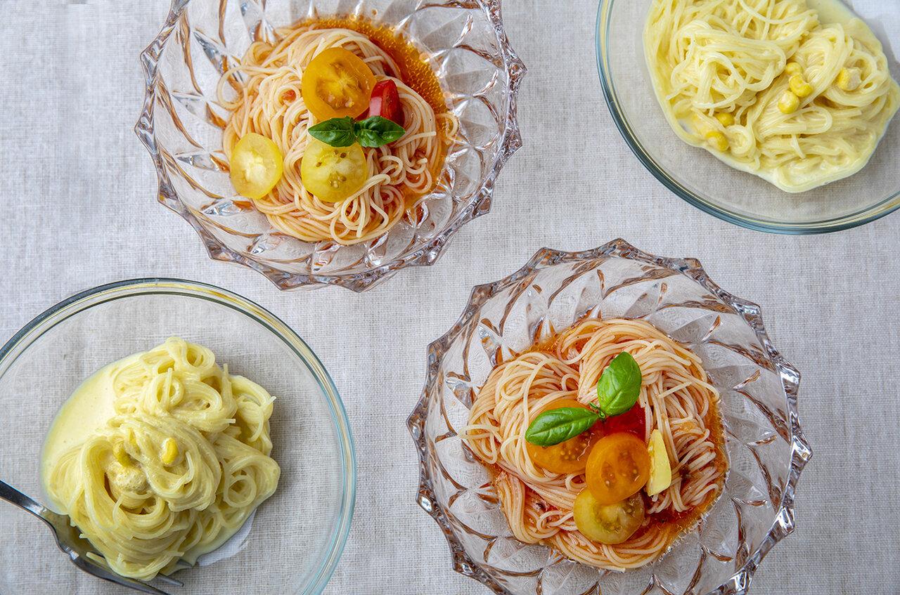 〔15分で冷製パスタ〕粉末コーンスープでレストランの味わいを作る技