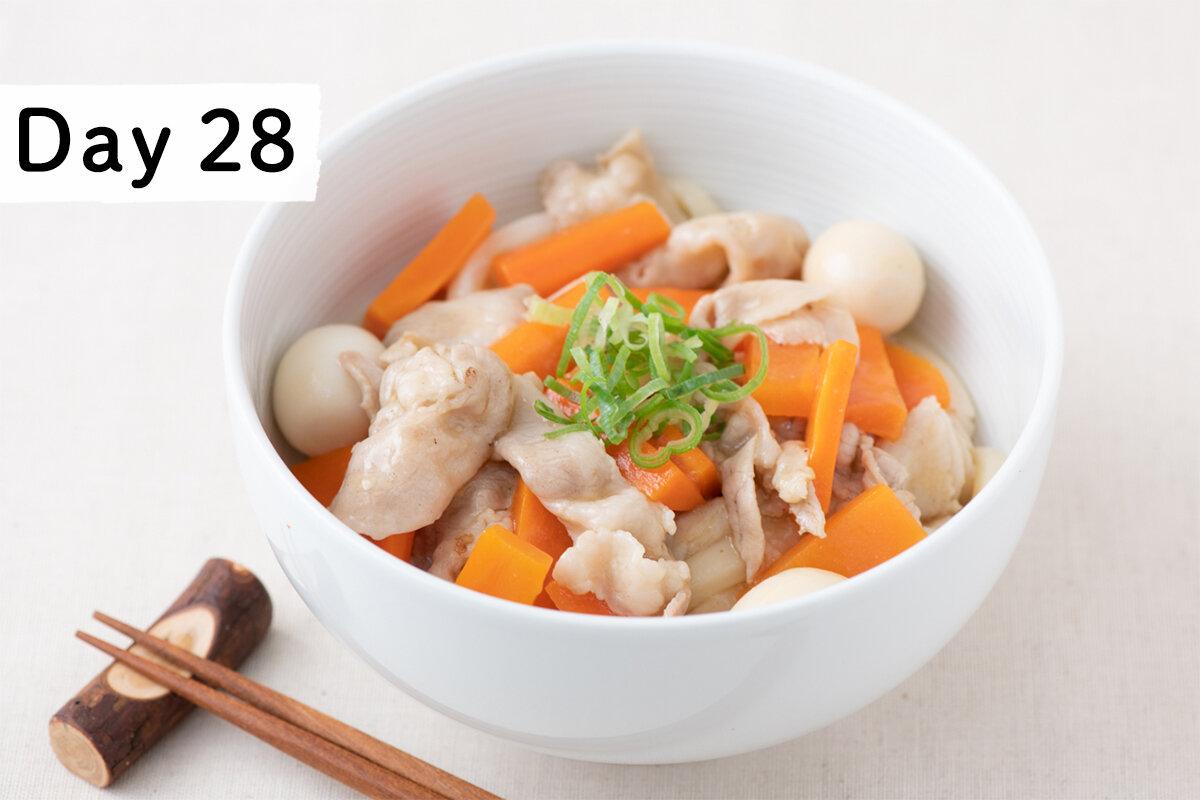 毎日公開!〔麵レシピ30〕28杯目 豚バラとにんじんの冷やし中華あんかけうどん