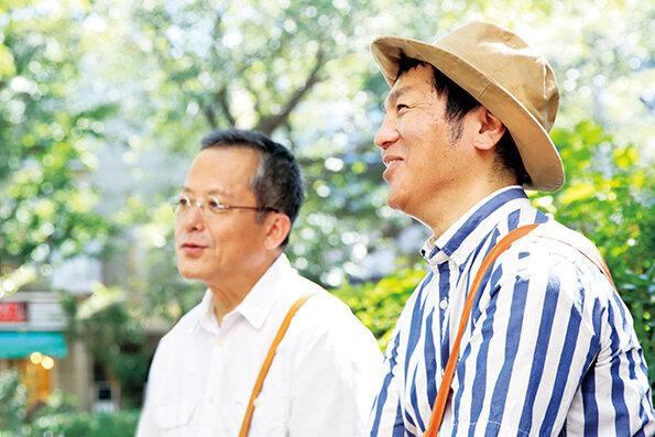 「センスとパッションが、はたこうしろうのいいところ」と村上康成さん。「村上さんの絵の洗練 されているところが好き」と、はたこうしろうさん  撮影:米沢耕(dandan)