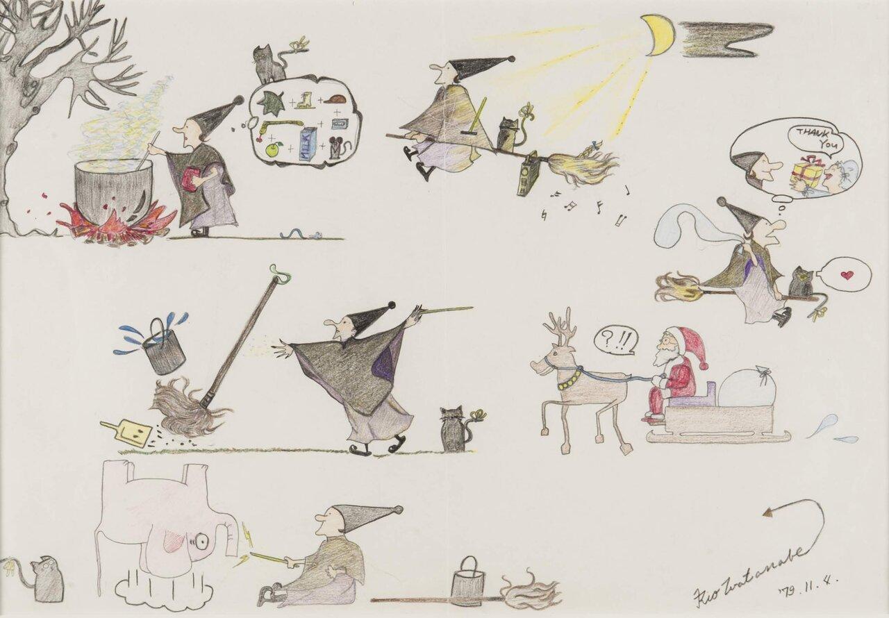 角野栄子さんの娘・リオさんが描いたこの絵が、『魔女の宅急便』のきっかけとなりました。12歳の絵とは思えない! <br> 写真提供・角野栄子オフィス