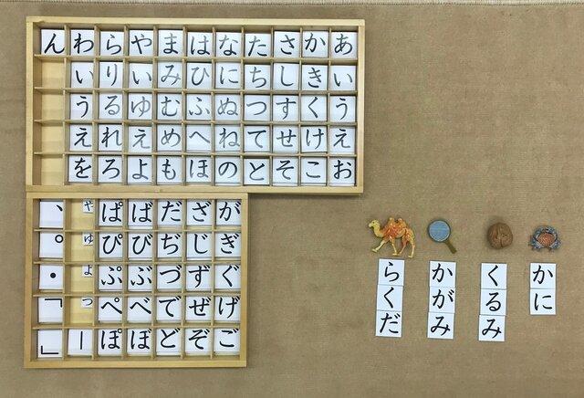 モンテッソーリの教具「移動五十音」と構成された単語