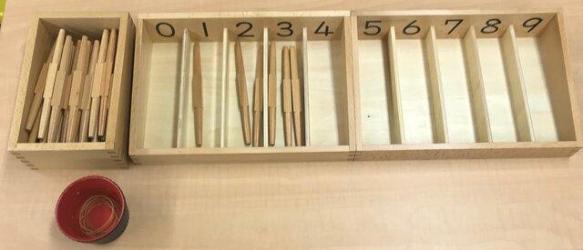 数量・数詞・数字を一致させるモンテッソーリの教具の一例