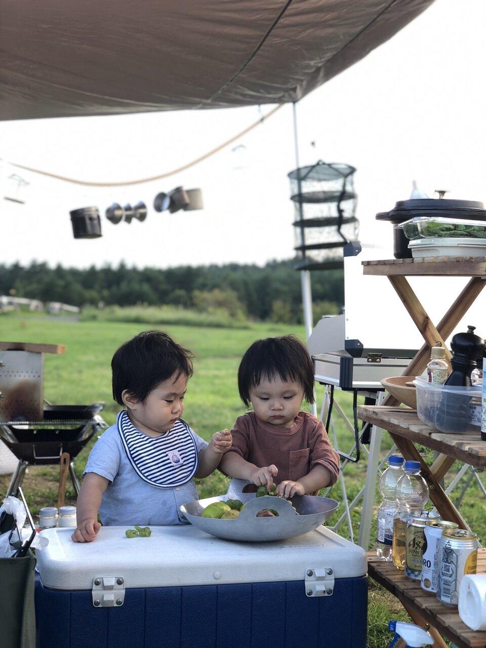 息子さんがまだ幼いときのキャンプ風景。<br> 写真提供 植松良枝