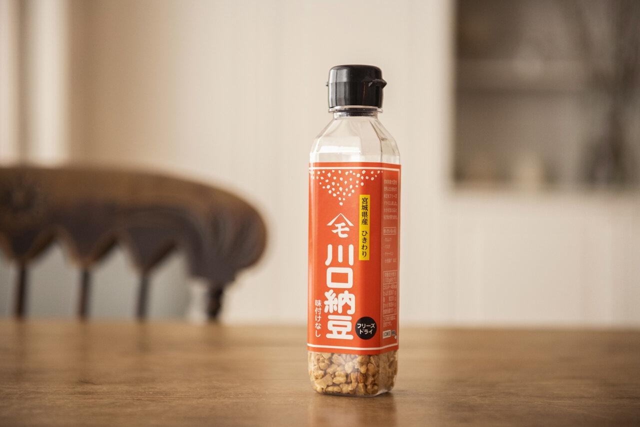 "<span class=""bold"">【『川口納豆』のフリーズドライタイプの納豆】</span><br> 『川口納豆』乾燥納豆は、「なくなると困る!」というほど植松さんのお気に入り。<br> 撮影 葛西亜理沙"