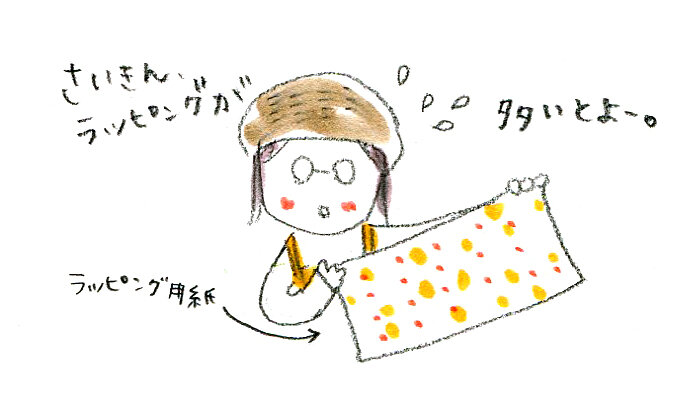 "<span class=""color-picker"" style=""color: rgb(91, 91, 91);"">ラッピングもえほんやさんの大事な仕事</span>"