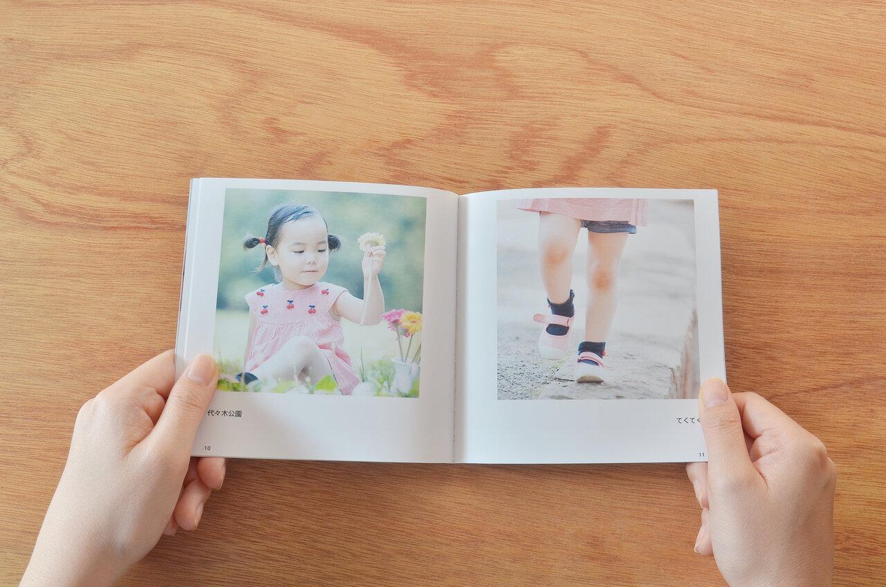 """1ページにつき写真1枚と、主役の子どもが引き立つレイアウト。アップロードした写真は、容量無制限で『ノハナ』のサーバーに永久保存されて、写真の管理にも便利<br> <small class=""""font-small"""">写真提供:ノハナ</small>"""