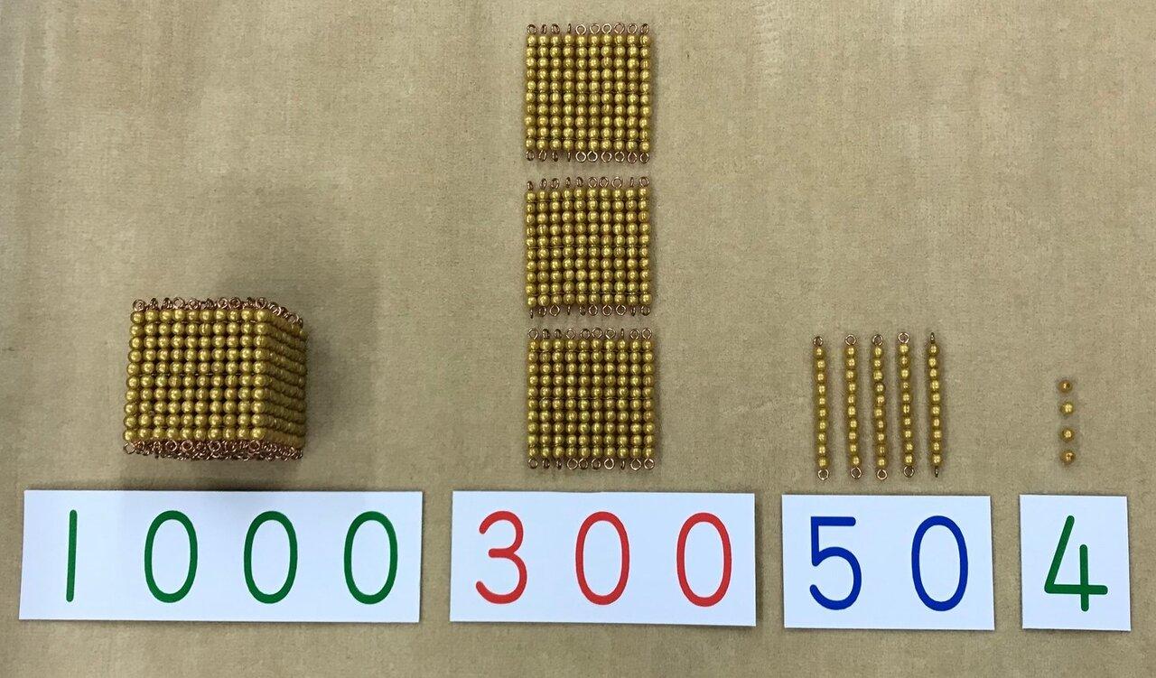 具体量が明確な金ビーズと対応する数字カード(1354)