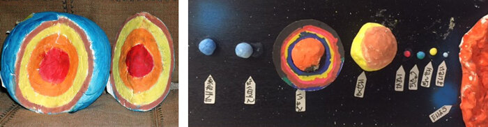 左:地球の構造(手作り) 右:太陽系の惑星(手作り)