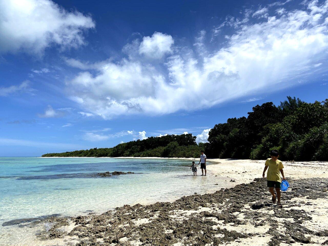 """竹富島の海辺を歩いて生き物探し。ヤドカリやカニ、岩をひっくり返したらタコが出てきたこともありました。海をのぞくと魚の群れが見えます。<br> <small class=""""font-small"""">写真提供:片岡由衣</small>"""