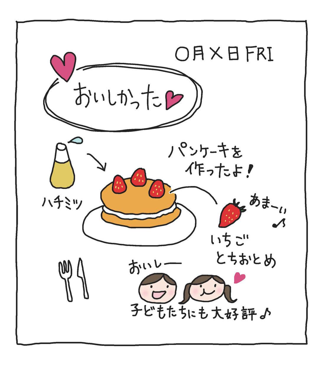 「パンケーキを作った」→「おいしかった」「子どもたちにも大好評」という流れで描きます。