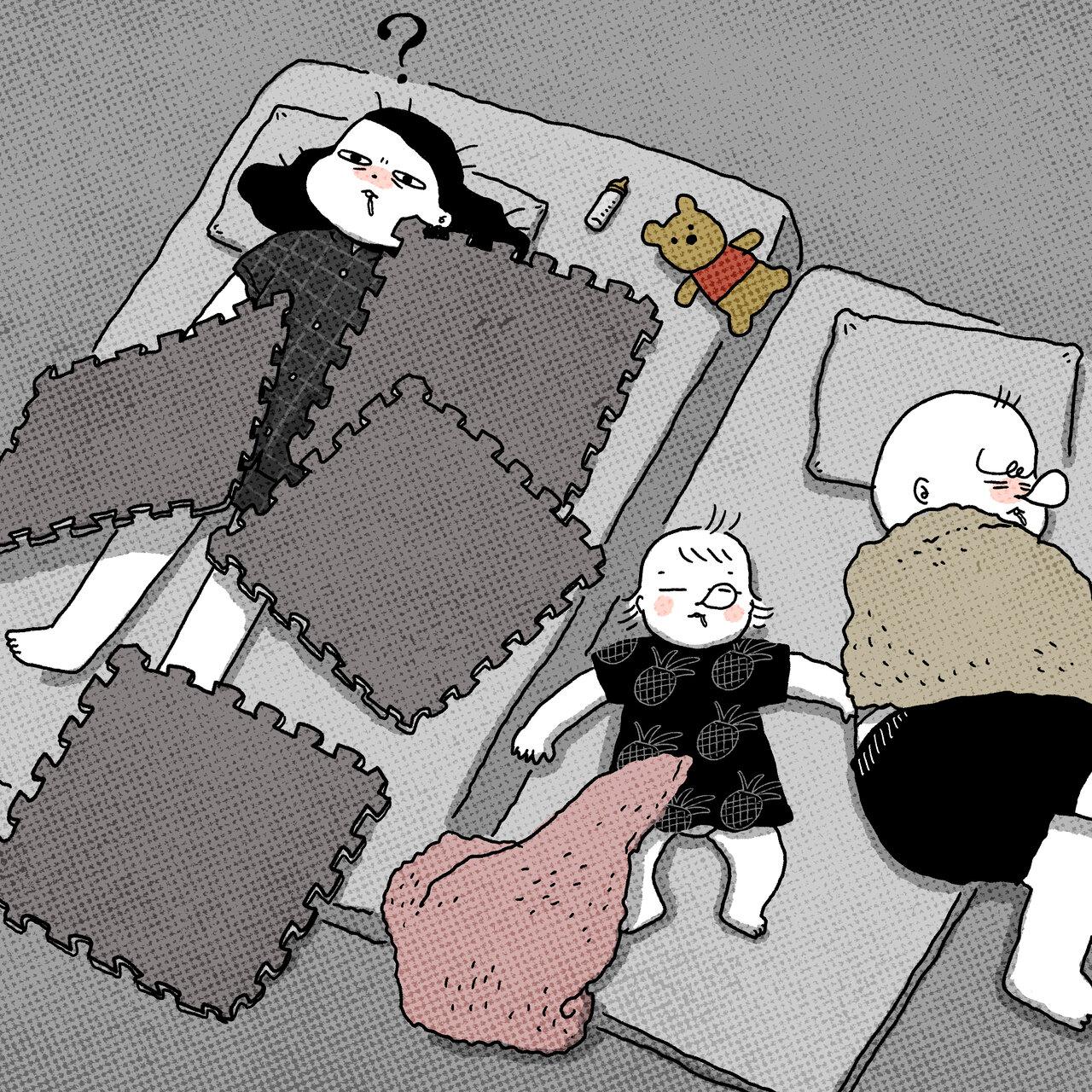 寝ている間に子どもにイタズラされていた(イラスト:やまだだり)