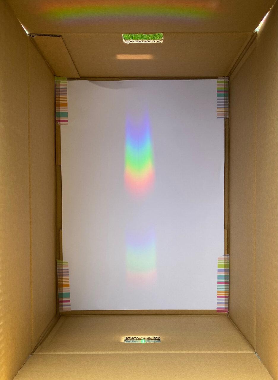 虹のような帯が2つ見えたら成功! 撮影:Yuchi