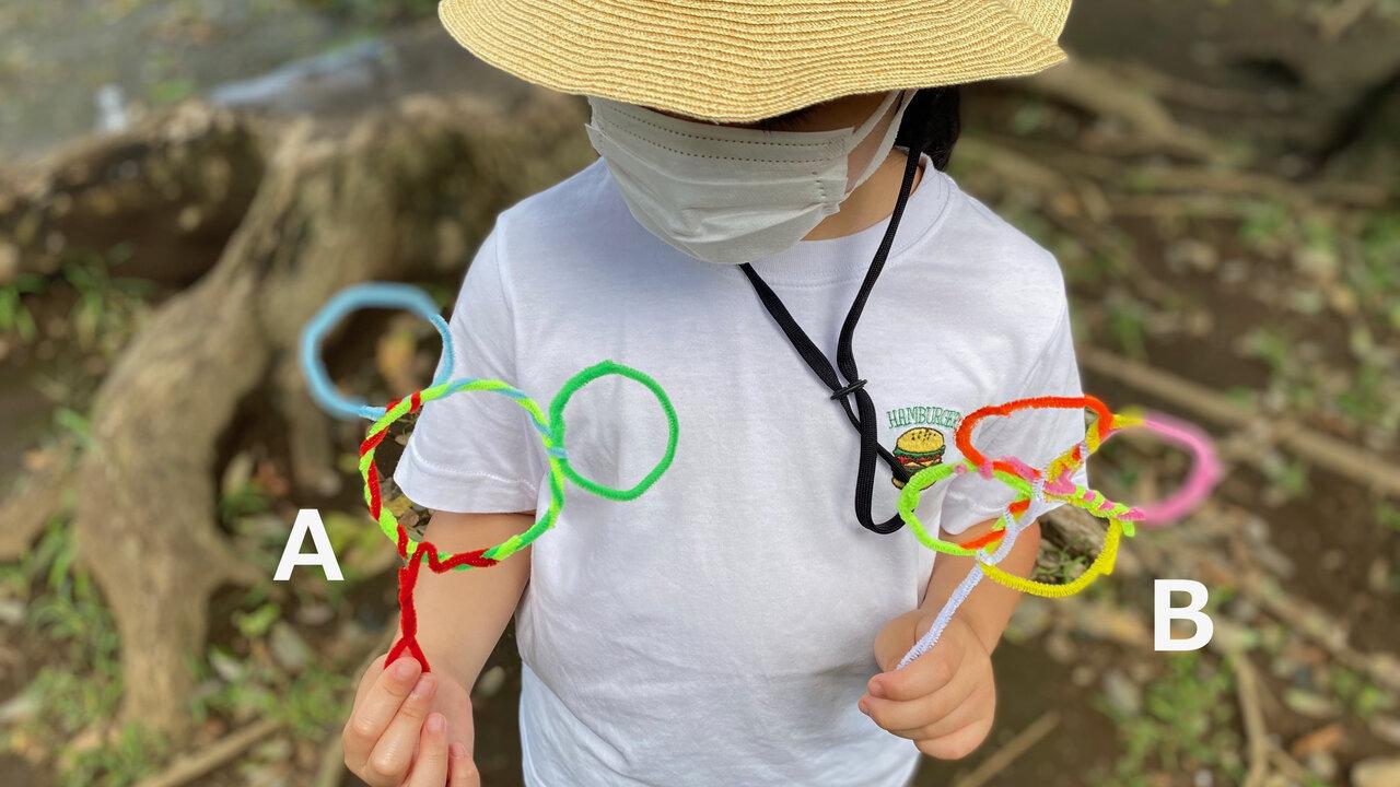 3つの輪(A)、4つの輪(B)がある「ふり輪」では、どんなシャボン玉ができるかな? 撮影:Yuchi、モデル:Saki